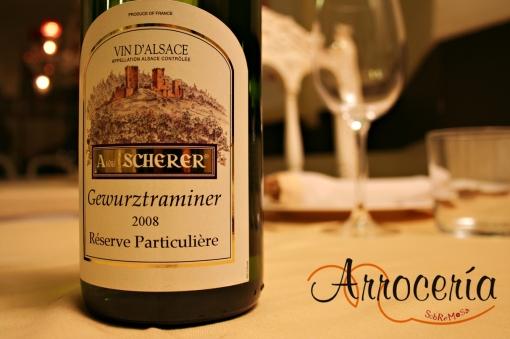 Scherer Gewürztraminer, gewürz clásico alsaciano, rosas, lichis, melosidad en la boca, sápido y sabroso.  Verduras, entrantes...