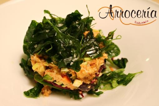 Ensalada de changurro, con corazones de alcachofa y vinagreta de caviar